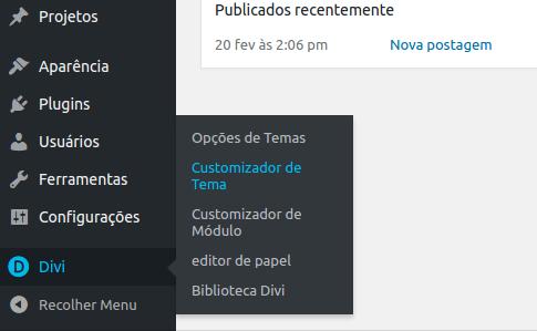 Depois, vá na aba Divi e clique em Customizador de Temas.